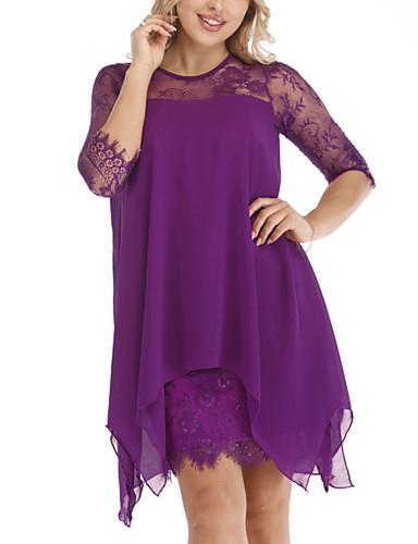 levne Šaty velkých velikostí-Dámské Pouzdro Šaty - Jednobarevné Nad kolena