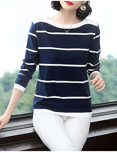 billige Dametopper-T-skjorte Dame - Stripet, Lapper Elegant BLå & Hvit Blå