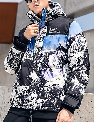 levne Pánské kabáty a parky-Pánské Barevné bloky S vycpávkou, Polyester Vodní modrá US32 / UK32 / EU40 / US34 / UK34 / EU42 / US36 / UK36 / EU44