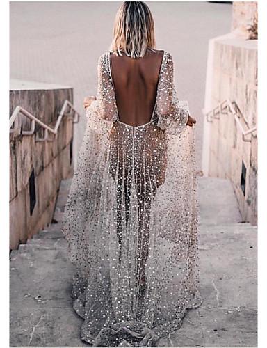 levne Maxi šaty-Dámské Základní Swing Šaty - Jednobarevné, Volná záda Flitry Maxi