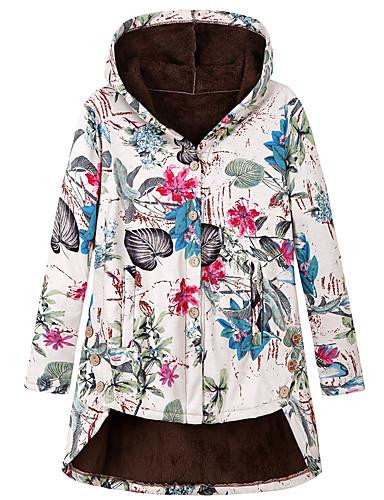 voordelige Dames donsjassen & parka's-Dames Bloemen Normaal Parka, Polyester Fuchsia / Oranje S / M / L