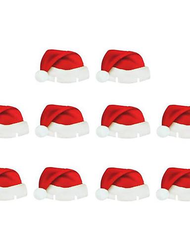 billige Julens andre ornamenter-10 stk julepynt bordplasskort jul santa hatt vinglass