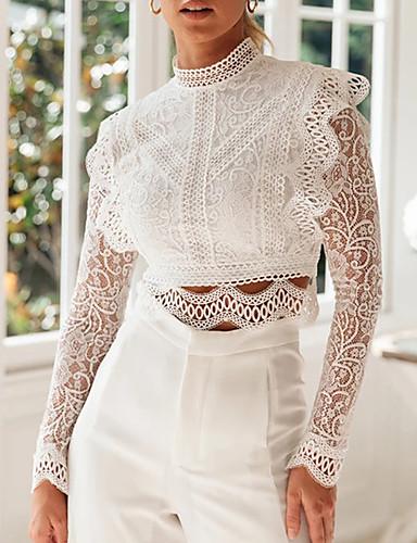 billige Skjorter til damer-Skjorte Dame - Ensfarget, Blonde Grunnleggende Hvit