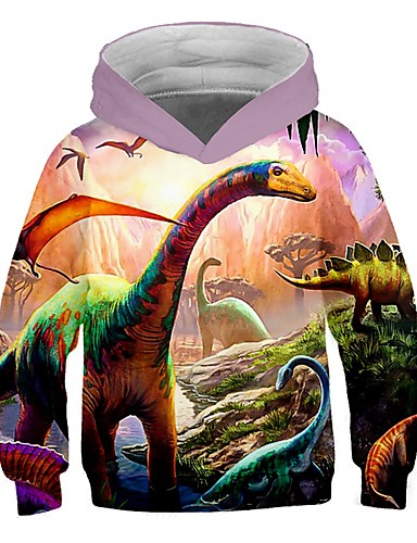 cheap Boys' Clothing-Kids Toddler Boys' Active Street chic Fantastic Beasts Dinosaur Color Block Print Long Sleeve Hoodie & Sweatshirt Yellow