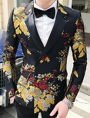 levne Pánské módní oblečení-Pánské Blejzr, Geometrický Košilový límec Polyester Černá / Bílá / Žlutá