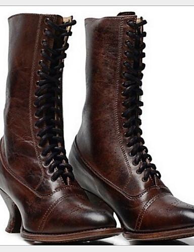 preiswerte Elegante Absatzschuhe & Stiefel-Damen Stiefel Komfort Schuhe Stöckelabsatz Runde Zehe PU Mittelhohe Stiefel Winter Schwarz / Braun