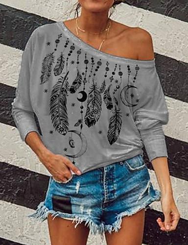 billige T-skjorter til damer-T-skjorte Dame - Grafisk Svart