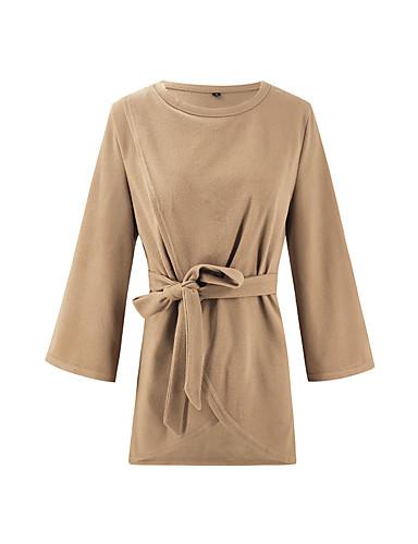 billige Dametopper-Bluse Dame - Ensfarget Grunnleggende / Elegant Rosa
