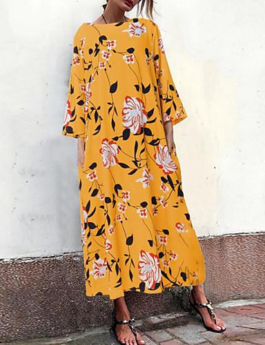 levne Maxi šaty-Dámské Šik ven Elegantní Shift Šaty - Proužky Geometrický, Plisé Tisk Maxi