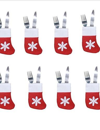 preiswerte Weihnachten Küche-Kleine Socken des Besteckbehälters der Weihnachtssocken 6pcs
