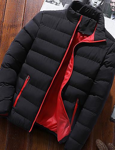 levne Pánské kabáty a parky-Pánské Barevné bloky S vycpávkou, Polyester Černá / Světle modrá / Vodní modrá US32 / UK32 / EU40 / US34 / UK34 / EU42 / US36 / UK36 / EU44