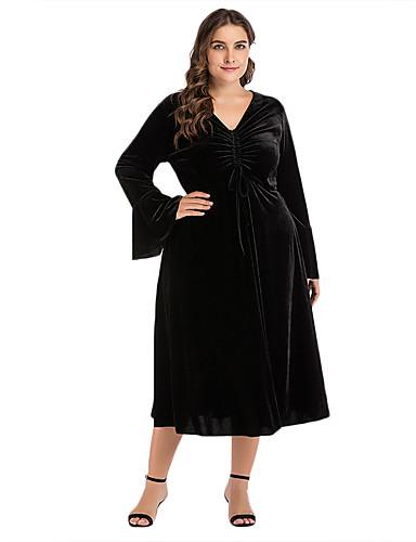 voordelige Grote maten jurken-Dames Standaard Wijd uitlopend Jurk - Effen Midi