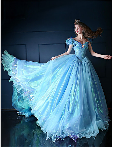 povoljno Movie & TV Theme Costumes-Princeza Cinderella Fairytale Haljine Cosplay Nošnje Žene Filmski Cosplay Plava Haljina Božić Halloween New Year Organza Saten