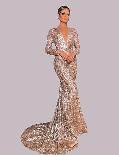 voordelige Maxi-jurken-Dames Elegant Schede Jurk - Effen, Pailletten Maxi