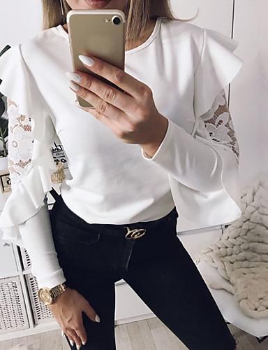 billige T-skjorter til damer-T-skjorte Dame - Geometrisk, Drapering Grunnleggende Hvit