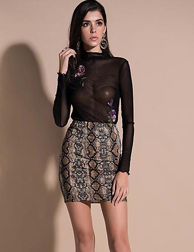 preiswerte Hosen & Röcke aus Leder-Damen Sexy Mini A-Linie Röcke - Schlangenleder Schwarz Khaki S M L / PU