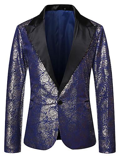 voordelige Herenblazers & kostuums-Heren Blazer, Bloemen Puntige revers Polyester Zwart / blauw / Rood