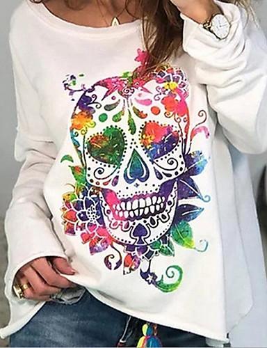 billige Topper til damer-T-skjorte Dame - Hodeskaller, Trykt mønster Grunnleggende Hvit