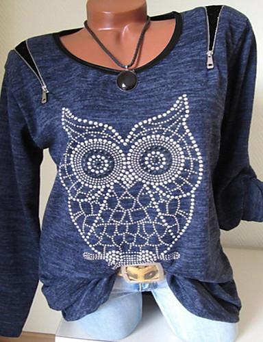 billige T-skjorter til damer-Store størrelser T-skjorte Dame - Geometrisk, Trykt mønster Grunnleggende Marineblå