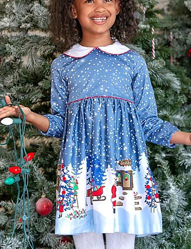 Gyerekek Lány Alap Karácsony Hosszú ujj Mini Ruha Medence