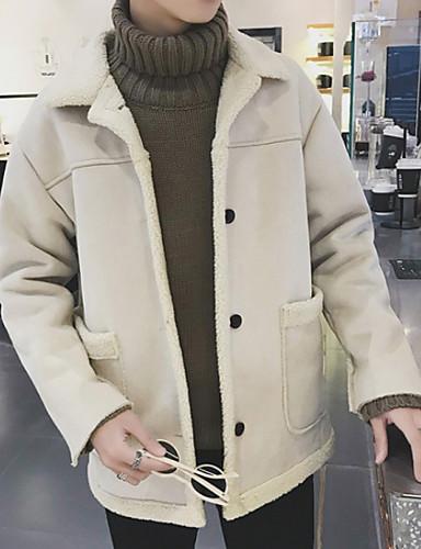 levne Pánská saka a kabáty-Pánské Denní Standardní Kabát, Jednobarevné Přehnutý Dlouhý rukáv Polyester Hnědá / Béžová
