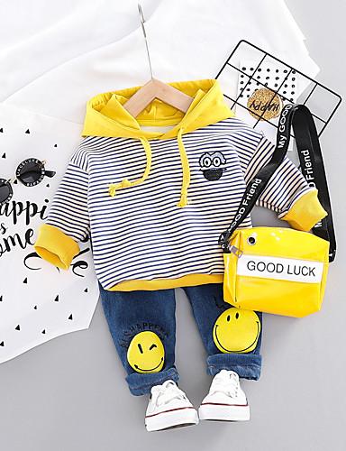 preiswerte Mode für Jungs-Baby Jungen Aktiv / Grundlegend Geometrisch / Druck Druck Langarm Standard Standard Kleidungs Set Orange