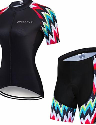 povoljno Odjeća za vožnju biciklom-CAWANFLY Muškarci Žene Kratkih rukava Biciklističke kratke hlače s jastučićima Biciklistička majica Biciklistička majica s kratkim hlačama Crn Geometic Bicikl Biciklistička majica Sportska odijela