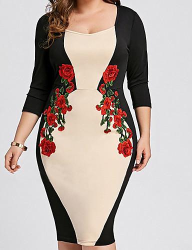 levne Šaty velkých velikostí-Dámské Bodycon Šaty - Květinový Délka ke kolenům