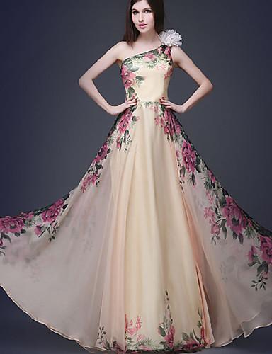 levne Maxi šaty-Dámské Vintage Elegantní Swing Šaty - Květinový, Plisé Tisk Maxi