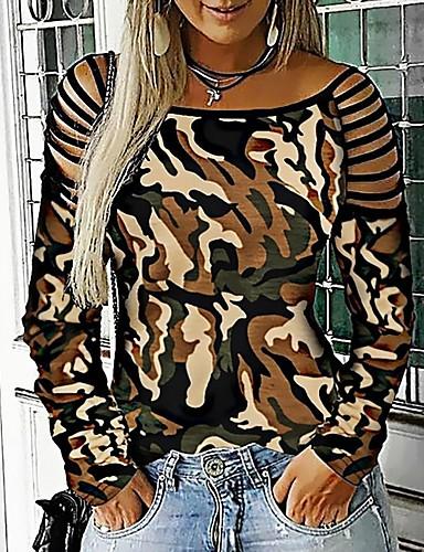 billige T-skjorter til damer-T-skjorte Dame - Leopard Lilla