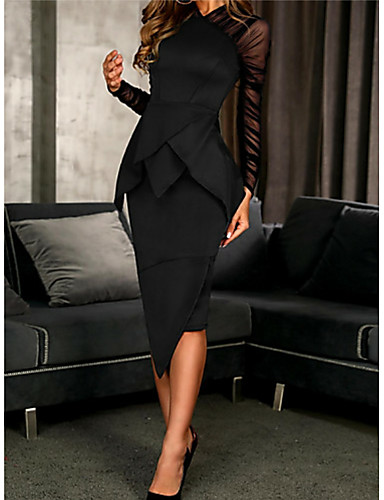 cheap Special Occasion Dresses-Sheath / Column Elegant Black Wedding Guest Cocktail Party Dress High Neck Long Sleeve Knee Length Polyester with Ruched Ruffles 2020