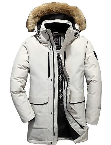 levne Pánské kabáty a parky-Pánské Jednobarevné Dlouhý kabát, Polyester Černá / Bílá / Šedá US32 / UK32 / EU40 / US34 / UK34 / EU42 / US36 / UK36 / EU44