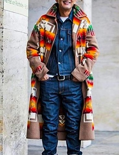 voordelige Herenmode-Heren Dagelijks Winter Normaal Jas, Kleurenblok Strijkijzer Lange mouw Polyester Bruin
