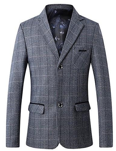 voordelige Herenblazers & kostuums-Heren Blazer Ingesneden revers Polyester Grijs / Khaki