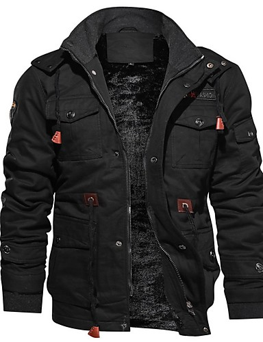 preiswerte Herrenjacken in Übergröße-Herrn Alltag Standard Jacke, Solide Mit Kapuze Langarm Polyester Schwarz / Armeegrün / Khaki
