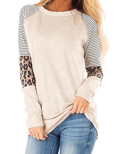 billige Dametopper-T-skjorte Dame - Leopard, Lapper Grunnleggende Svart