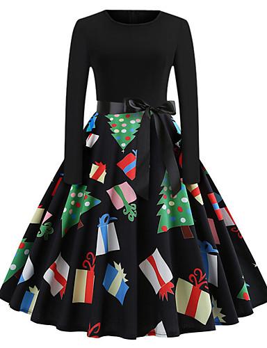 voordelige Kerstwinkel-Dames Standaard Klein en zwart Jurk - Geometrisch, Print Midi