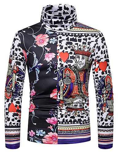 voordelige Heren T-shirts & tanktops-Heren Standaard / Street chic Patchwork / Print T-shirt Kleurenblok / 3D / Grafisch Zwart