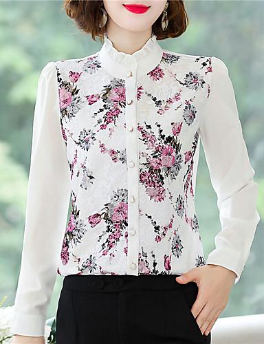 billige Dametopper-Skjorte Dame - Blomstret Chinoiserie Svart