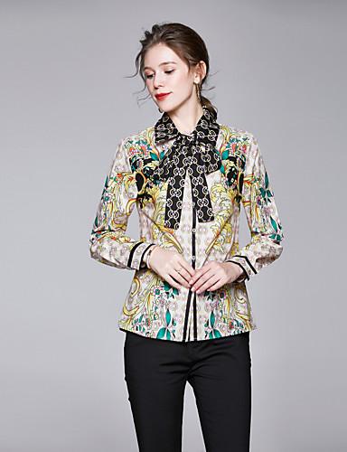 billige Dametopper-Skjorte Dame - Blomstret, Sløyfe / Blondér / Trykt mønster Vintage / Elegant Kakifarget