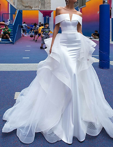 cheap Wedding Dresses-A-Line Off Shoulder Court Train Satin Short Sleeve Country / Simple Plus Size / Modern Wedding Dresses with Cascading Ruffles 2020