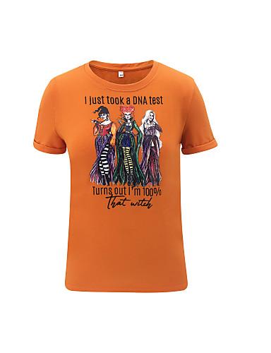 billige Dametopper-T-skjorte Dame - Grafisk, Trykt mønster Grunnleggende Oransje
