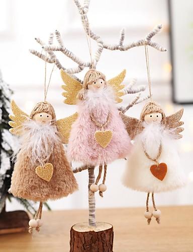 billige Julehengende dekorasjon-jul hengende jul søt plysj hjerte fjær engel dukke ornamenter juletre hengende