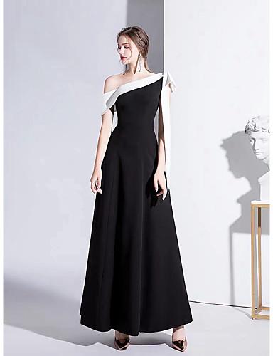 preiswerte Schwarze Partykleider-A-Linie Ein-Schulter Boden-Länge Satin Muster / Vintage Inspirationen Formeller Abend Kleid mit Schleife(n) durch LAN TING Express