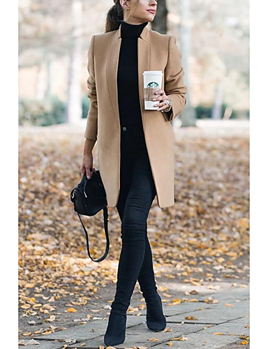 Women's Fall Winter Coat Daily Basic Stand Long Solid Colored Wine / Khaki / Gray S / M / L