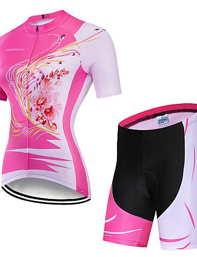 povoljno Odjeća za vožnju biciklom-CAWANFLY Muškarci Žene Kratkih rukava Biciklističke kratke hlače s jastučićima Biciklistička majica Biciklistička majica s kratkim hlačama Pink Cvjetni / Botanički Feniks Bicikl Biciklistička majica