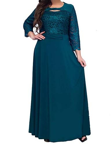 cheap Women's Plus Sizes-Women's A Line Dress - Solid Colored Wine Green Navy Blue L XL XXL XXXL