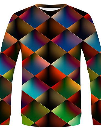 voordelige Heren T-shirts & tanktops-Heren Street chic / overdreven T-shirt Kleurenblok / Regenboog Regenboog