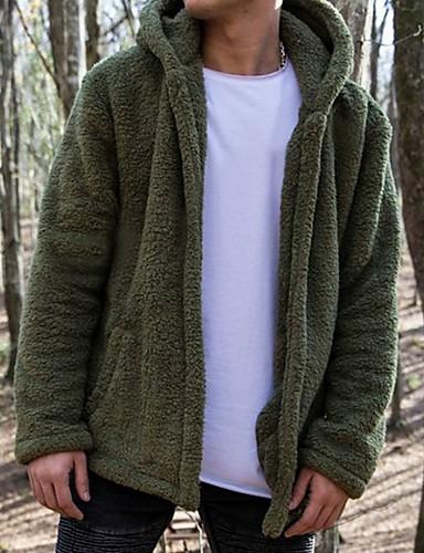 levne Pánská saka a kabáty-Pánské Denní Standardní Faux Fur Coat, Jednobarevné Kapuce Dlouhý rukáv Polyester Bílá / Armádní zelená / Vodní modrá