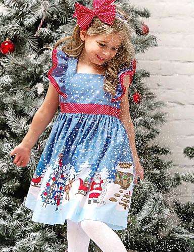 preiswerte Kinder Mode Kollektion Ausverkauf-Kinder Baby Mädchen Aktiv Süß Schneeflocke Weihnachten Druck Kurzarm Übers Knie Kleid Blau